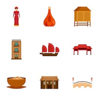 Набор иконок аттракцион вьетнам, плоский стиль