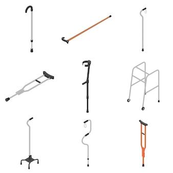 松葉杖アイコンセット、アイソメ図スタイル