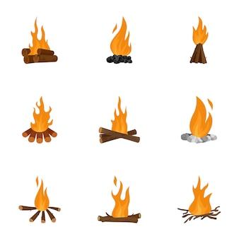 たき火のアイコンセット、漫画のスタイル