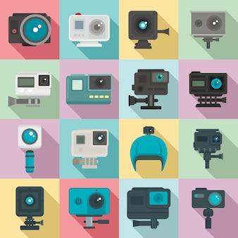 Набор экшн-камер, плоский стиль
