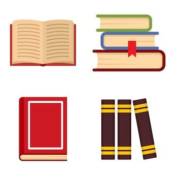 Набор значков библиотечных книг