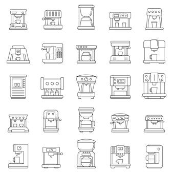 自動コーヒーマシンのアイコンセット、アウトラインのスタイル