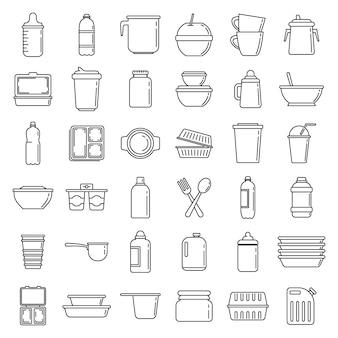 モダンなプラスチック製食器のアイコンセット、アウトラインのスタイル