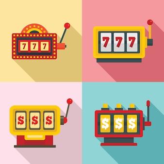 Набор иконок игровых автоматов, плоский стиль