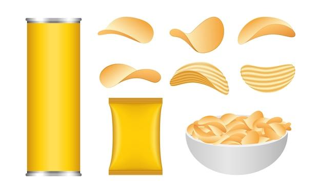 Набор иконок картофельные чипсы, реалистичный стиль