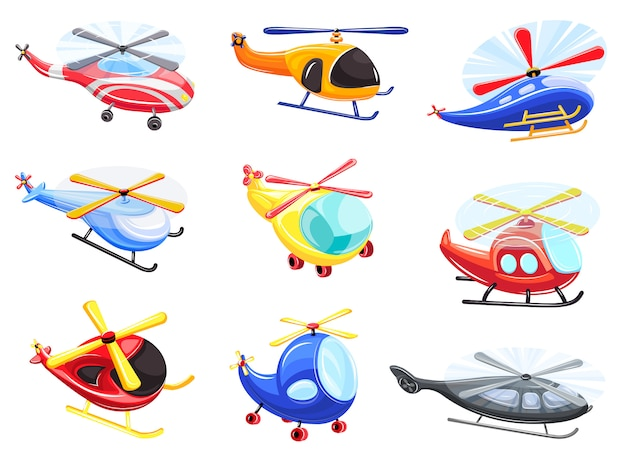 ヘリコプターのアイコンセット、漫画のスタイル