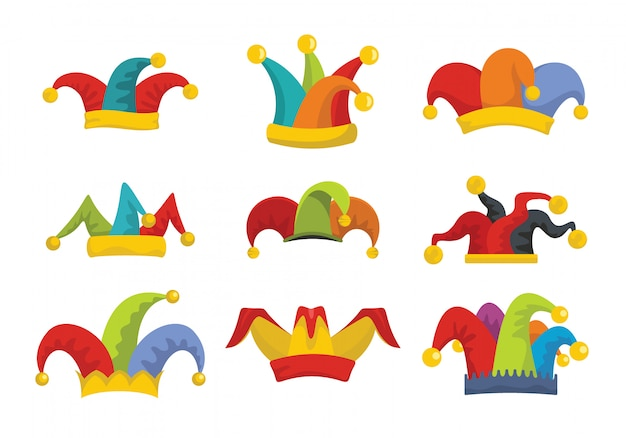 Шут дурака шляпа иконки набор плоский стиль