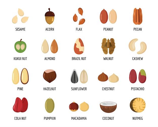Установить типы орехов со значками со знаком