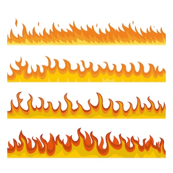 Костер ночной огонь баннер концепция набора