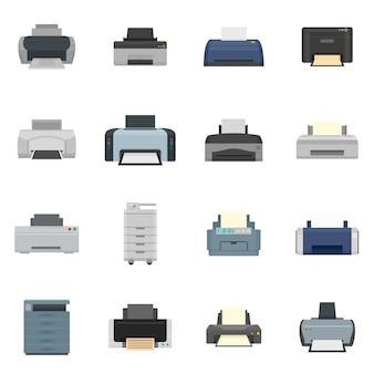 プリンターオフィスコピー文書アイコンセットフラットスタイル