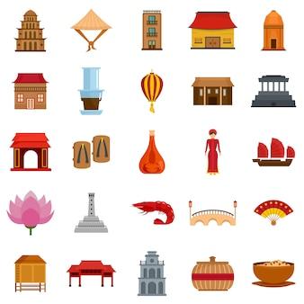 Вьетнам путешествия туризм иконки набор плоский стиль