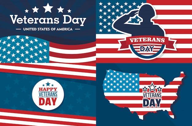 День ветеранов баннер установлен. плоская иллюстрация дня ветеранов
