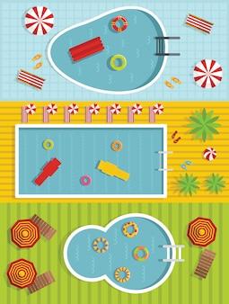 夏のプールの背景