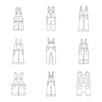 作業服のアイコンセット、シンプルなスタイルのオーバーオール
