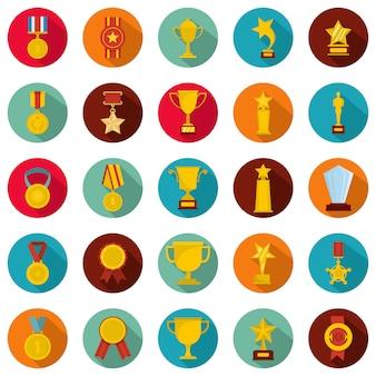 メダル賞のアイコンセット、フラットスタイル