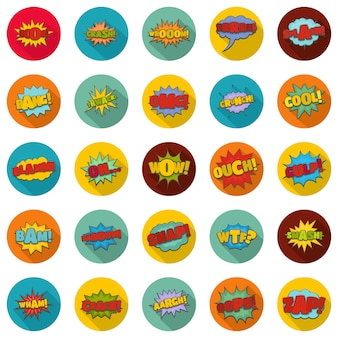 Набор комических звуковых иконок, плоский стиль