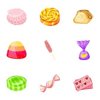 甘いお菓子のアイコンを設定します。甘いお菓子ベクトルアイコンの漫画セット