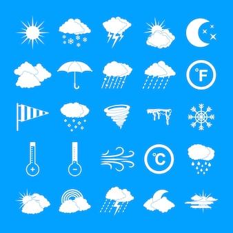 Набор иконок погоды, простой стиль