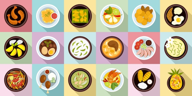 Набор иконок тайской кухни