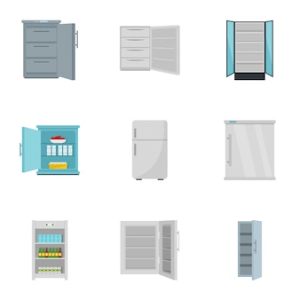 冷凍庫のアイコンセット、フラットスタイル