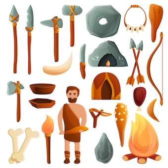 石器時代のセット、漫画のスタイル