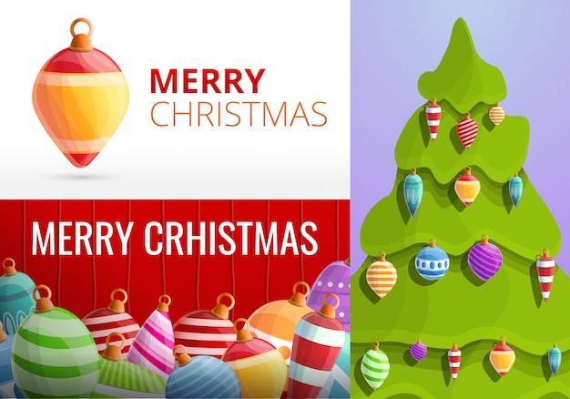 クリスマスのモミの木のおもちゃバナーセット、漫画のスタイル