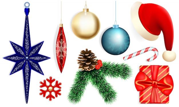 クリスマスのアイコンセット、リアルなスタイル