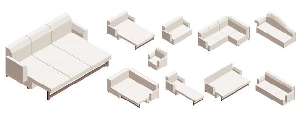 ソファのアイコンセット、アイソメ図スタイル
