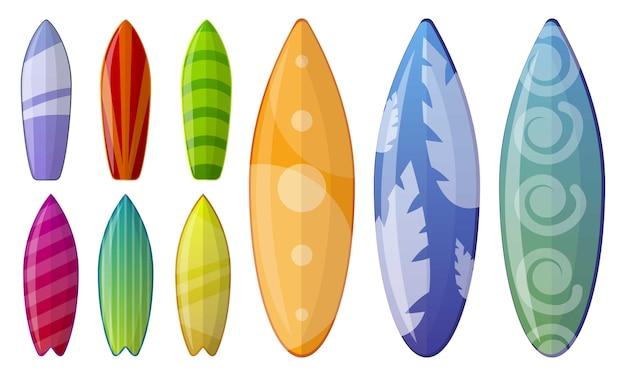 Набор иконок для серфинга, мультяшном стиле