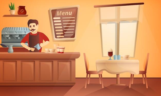 バリスタレストランのコンセプトイラスト、漫画のスタイル