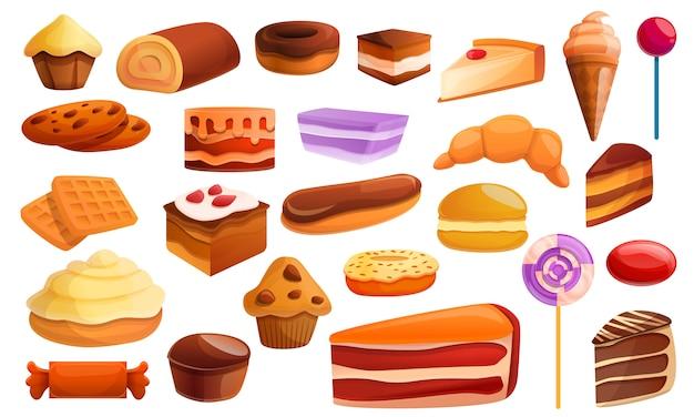 菓子アイコンセット、漫画のスタイル