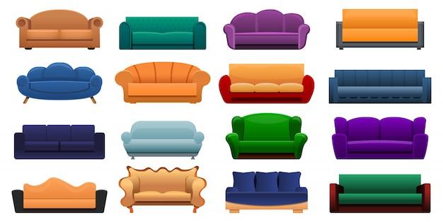部屋のソファーのアイコンセット、漫画のスタイル