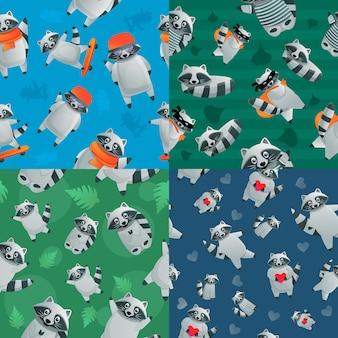 アライグマ動物のシームレスなパターンセット、漫画のスタイル