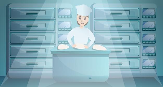 パン屋の工場概念図、漫画のスタイルで働く女性