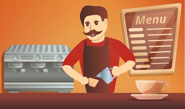 バリスタコーヒー男の概念図、漫画のスタイル