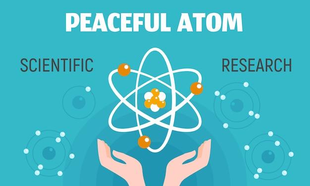 平和的な原子概念バナー、フラットスタイル。