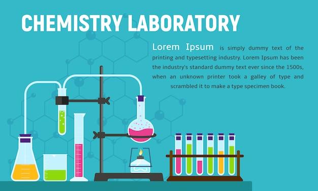 Химическая лаборатория концепции баннера, плоский стиль.