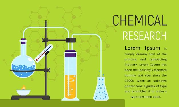 Химические исследования концепции баннер, плоский стиль.