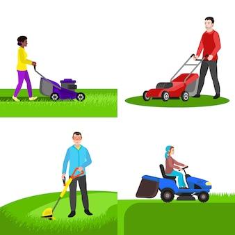 庭の芝刈り機のキャラクターセット、フラットスタイル