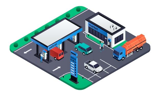 モダンなガソリンスタンドの図、アイソメ図スタイル