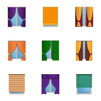 窓のブラインドセット、漫画のスタイル