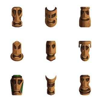 Набор идолов тики, мультяшном стиле