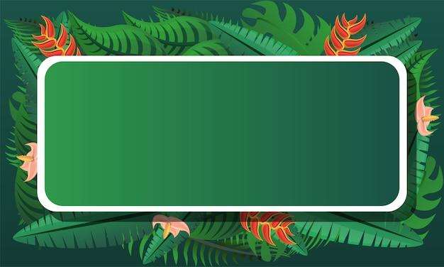 熱帯のエキゾチックなコンセプトフレーム背景、漫画のスタイル