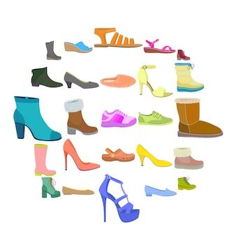靴のアイコンセット、フラットスタイル