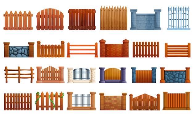 フェンスのアイコンセット、漫画のスタイル