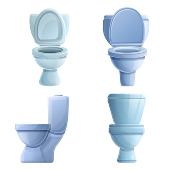 トイレのアイコンセット、漫画のスタイル