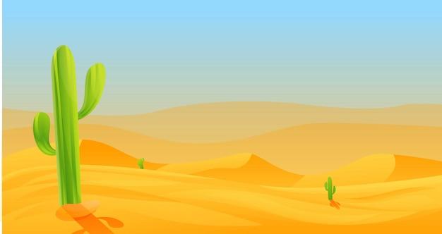 暑い砂漠のバナー、漫画のスタイル