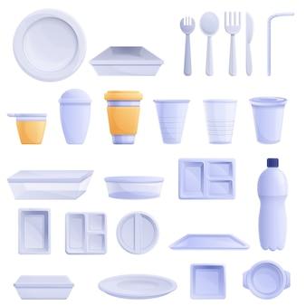 Набор пластиковой посуды в мультяшном стиле