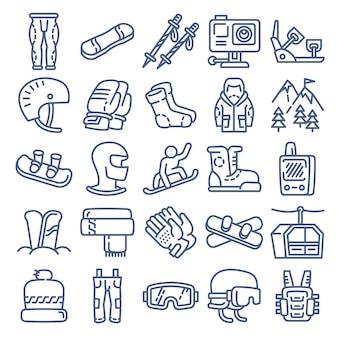 スノーボード機器アイコン、アウトラインのスタイル