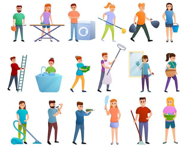 Набор символов для домашнего хозяйства, мультяшный стиль